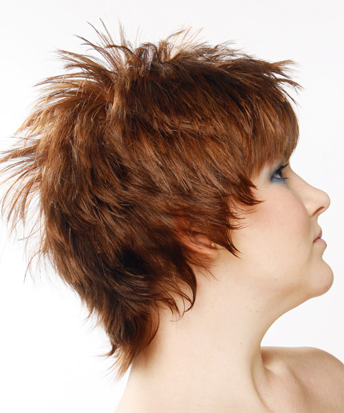 Short Straight Alternative Hairstyle (Auburn) - side view 2