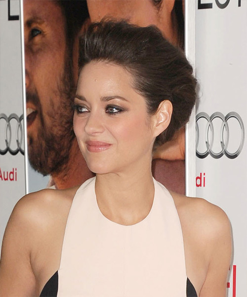 Marion Cotillard Straight Formal Updo Hairstyle - Dark Brunette (Mocha) Hair Color - side on view