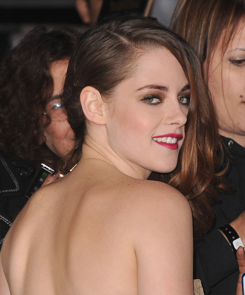 Kristen Stewart Long Wavy Hairstyle - Medium Brunette (Auburn) - side view 2