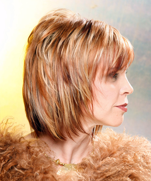 Medium Straight Formal Hairstyle - Medium Blonde (Copper) - side view 2