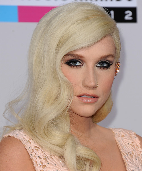 Kesha Long Wavy Hairstyle - Light Blonde - side view 2