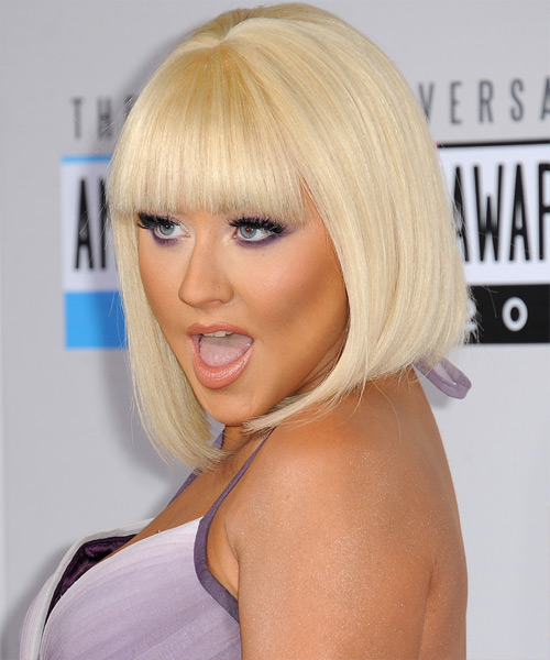 Christina Aguilera Medium Straight Formal Bob Hairstyle with Blunt Cut Bangs - Light Blonde Hair Color - side on view
