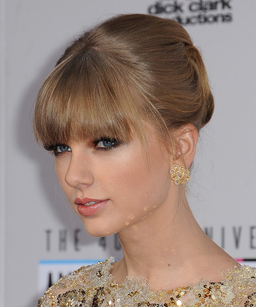 Taylor Swift Straight Formal Updo Hairstyle with Blunt Cut Bangs - Light Brunette (Caramel) Hair Color - side on view