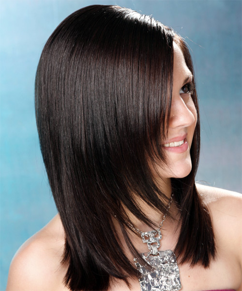 Long Straight Formal Hairstyle (Mocha) - side view 2