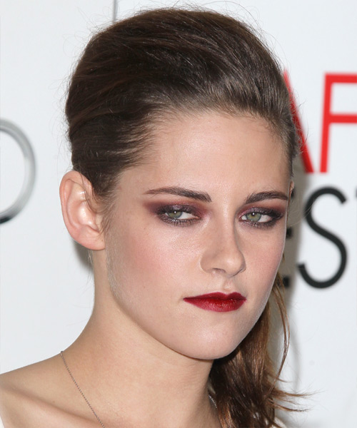 Kristen Stewart Straight Casual Updo Hairstyle - Medium Brunette Hair Color - side on view