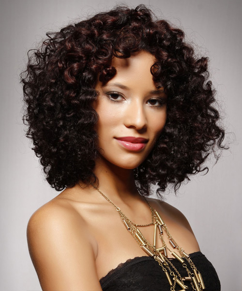 Medium Curly Casual Hairstyle - Dark Brunette - side view