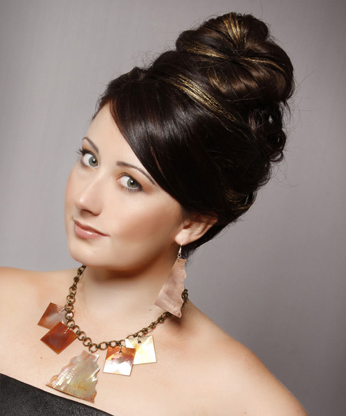 Formal Straight Updo Hairstyle - Dark Brunette - side view 2