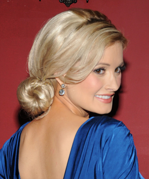 Holly Madison Formal Straight Updo Hairstyle - Medium Blonde - side view 2