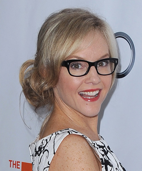 Rachael Harris Updo Long Straight Casual Wedding- side on view