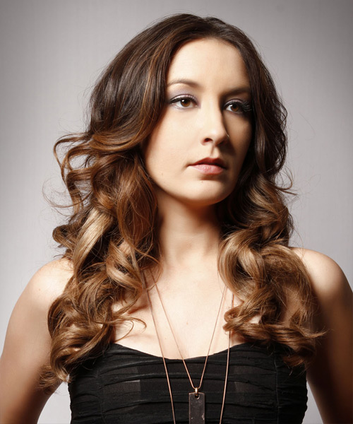 Long Wavy Formal Hairstyle - Medium Brunette (Chocolate) - side view 2