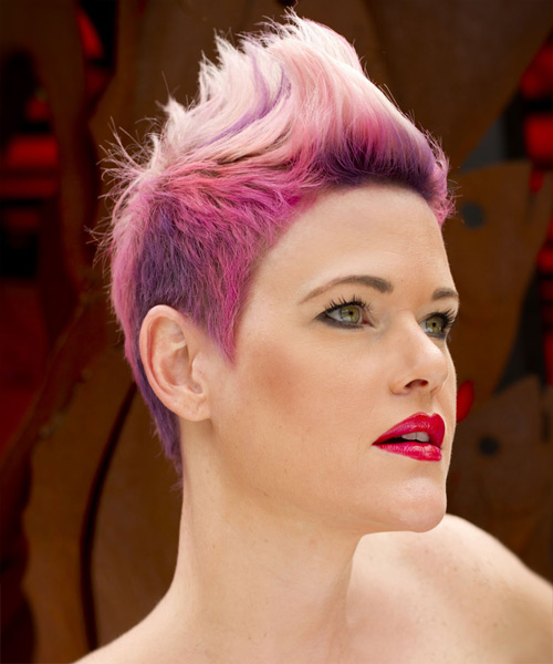 Short Straight Alternative Hairstyle - Pink (Bright) - side view 2