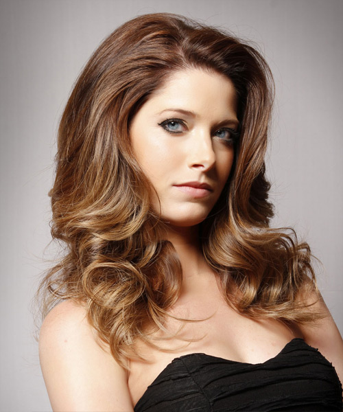 Long Wavy Formal Hairstyle - Medium Brunette (Chestnut) Hair Color - side on view