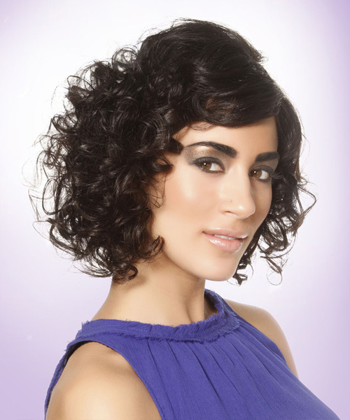 Short Curly Formal  with Side Swept Bangs - Black - side on view