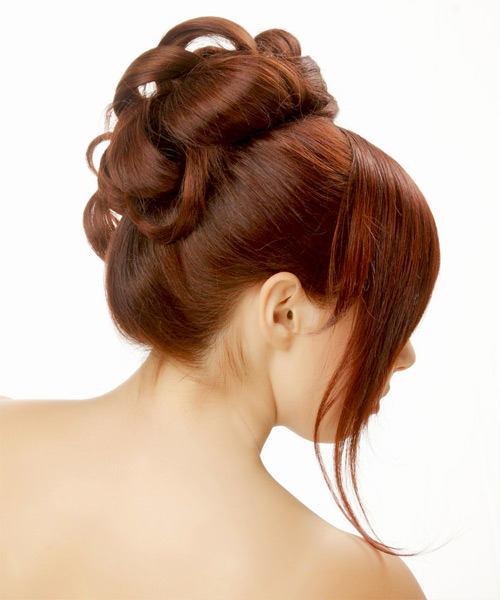 Straight Formal Updo Hairstyle with Blunt Cut Bangs - Medium Red Hair Color - side on view