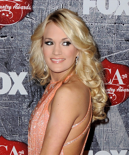 Carrie Underwood Long Wavy Formal Hairstyle (Golden) - side on view