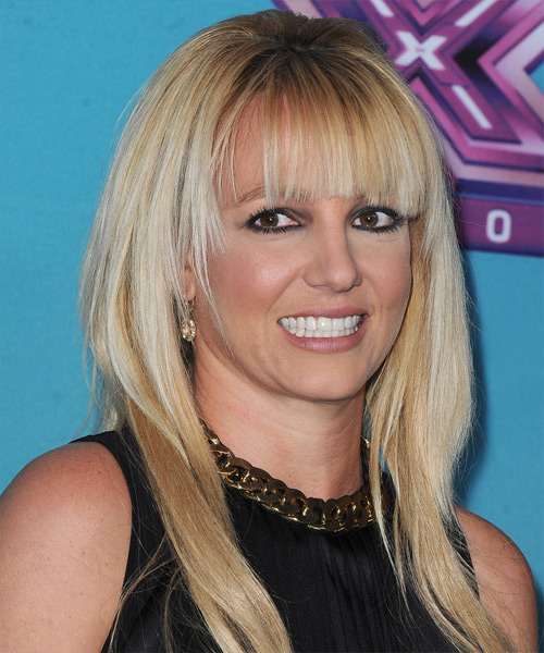 Britney Spears Long Straight Casual Hairstyle with Blunt Cut Bangs - Light Blonde Hair Color - side on view