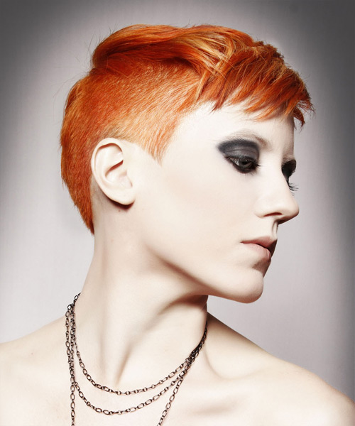 Short Straight Casual Hairstyle - Medium Red (Ginger) - side view 2
