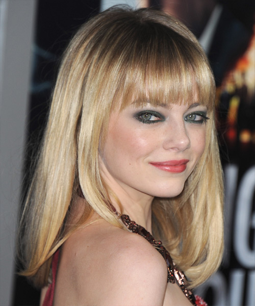 Emma Stone Long Straight Formal  with Blunt Cut Bangs - Medium Blonde (Champagne) - side on view