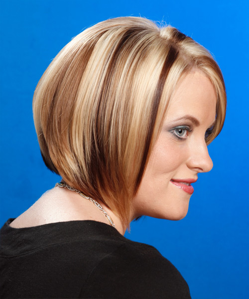 Medium Straight Formal Bob Hairstyle - Light Blonde - side view 2