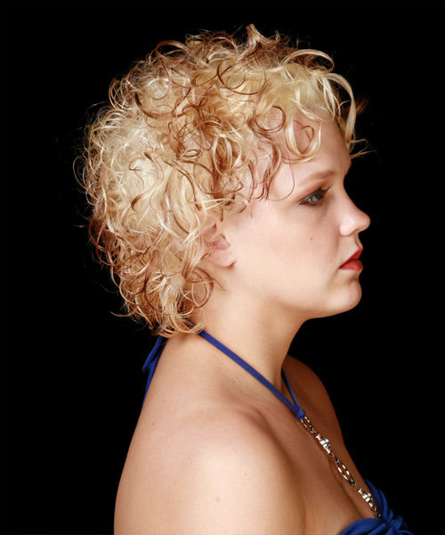 Short Curly Formal Hairstyle - Light Blonde (Copper) - side view 2