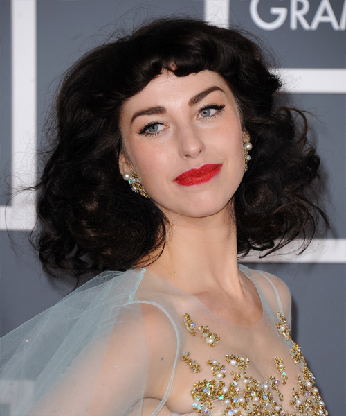 Kimbra Short Curly Formal Hairstyle with Blunt Cut Bangs - Dark Brunette Hair Color - side on view
