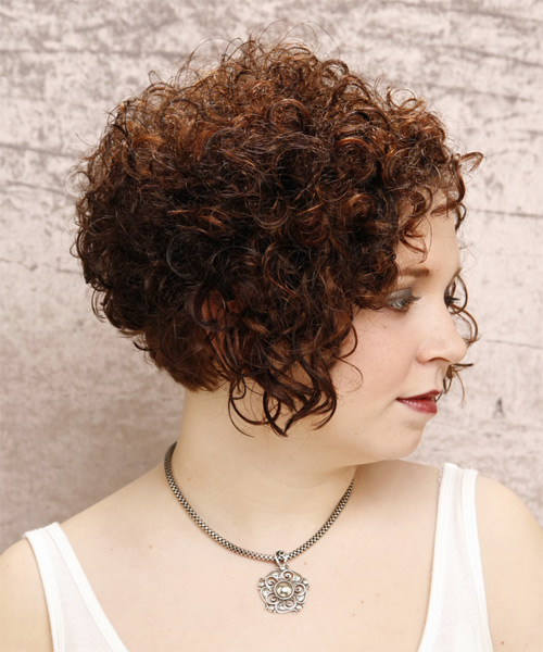 Short Curly Formal Hairstyle - Dark Brunette (Auburn) - side view 2