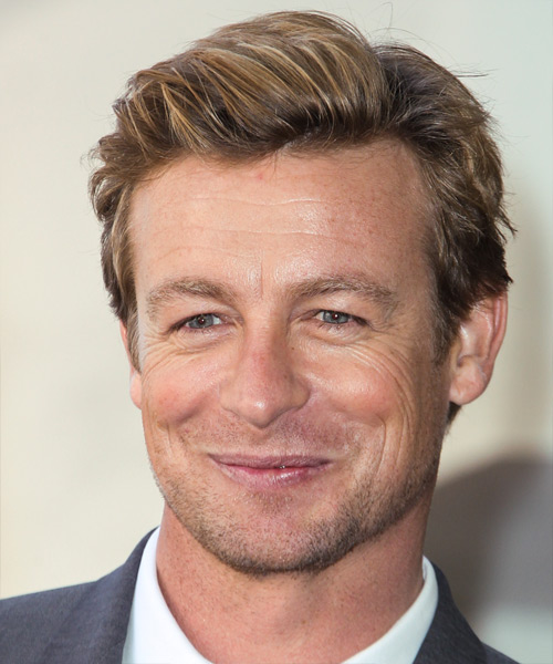 Simon Baker Short Straight Casual Hairstyle - Medium Blonde Hair Color - side on view