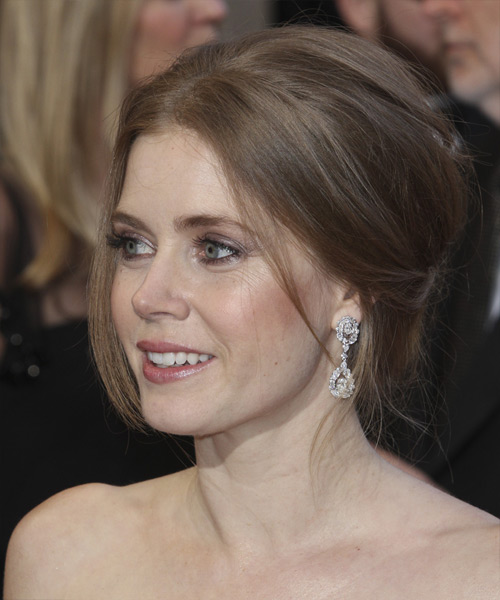 Amy Adams Straight Formal Updo Hairstyle - Light Brunette (Chestnut) Hair Color - side on view