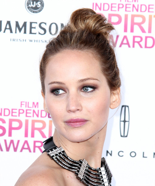Jennifer Lawrence Straight Casual Updo Hairstyle - Light Brunette (Chestnut) Hair Color - side on view