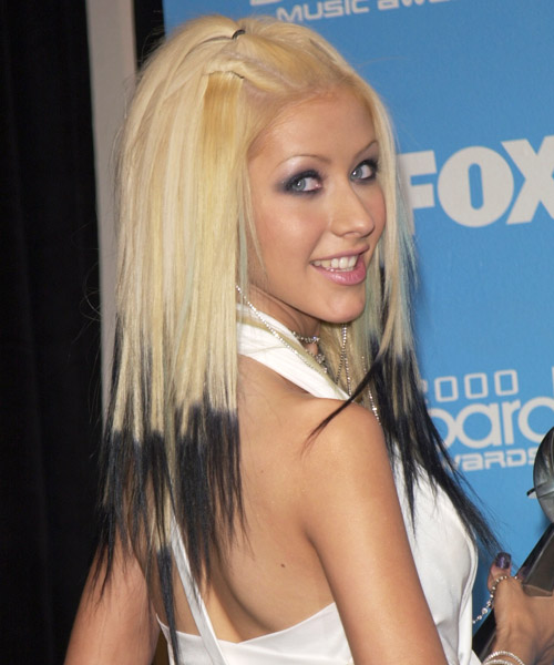 Christina Aguilera Long Straight Hairstyle - side view 2