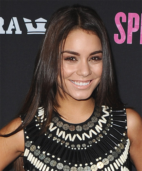 Vanessa Hudgens Long Straight Hairstyle - Dark Brunette - side view 2