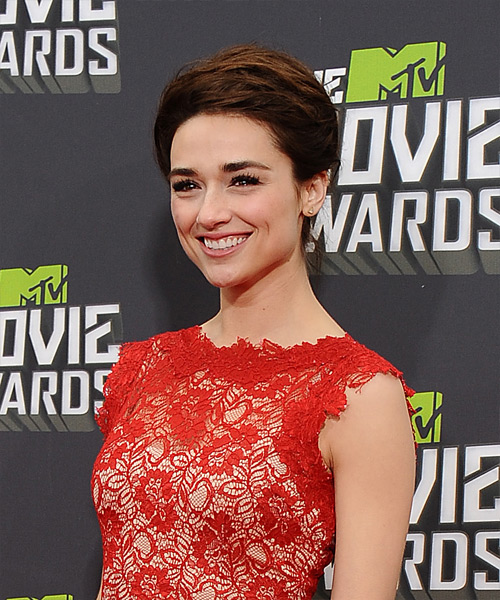 Crystal Reed Formal Straight Updo Hairstyle - side view 2