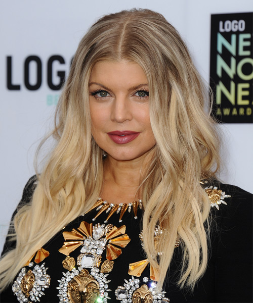 Fergie Long Wavy Casual Hairstyle - Light Blonde (Champagne) Hair Color - side on view