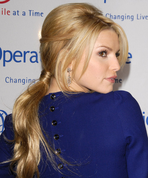 Jessica Simpson Updo Long Straight Formal Updo Hairstyle - Dark Blonde (Golden) Hair Color - side view