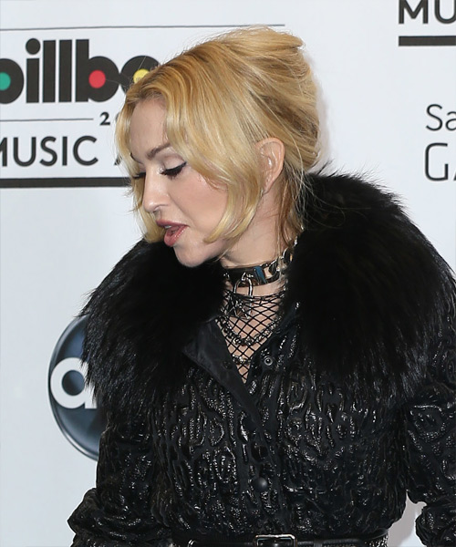 Madonna Updo Long Straight Formal - side on view