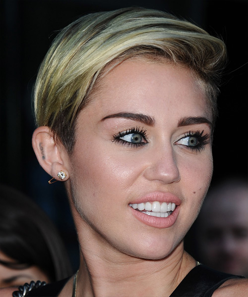 Miley Cyrus Short Straight Casual Hairstyle - Light Blonde (Ash) Hair Color - side on view