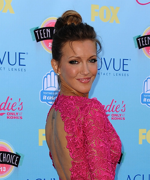 Katie Cassidy Casual Straight Updo Hairstyle - side view