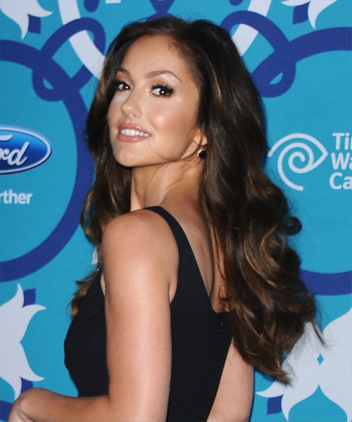 Minka Kelly Long Wavy Formal Hairstyle - side on view