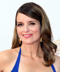 Tina Fey Long Wavy Formal  - side on view