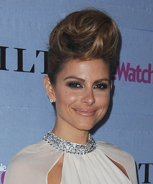 Maria Menounos Formal Straight Updo Hairstyle - side view 2