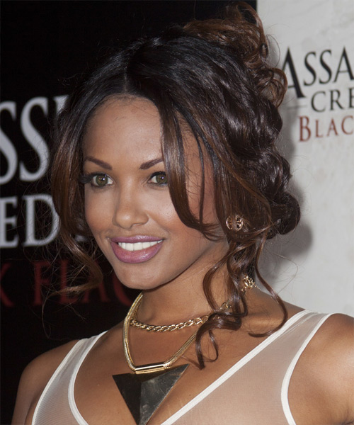 K D Aubert Casual Curly Updo Hairstyle - Dark Brunette - side view 2
