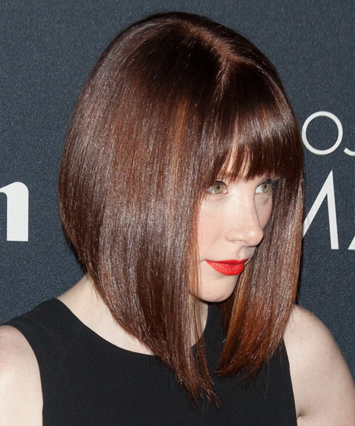 Bryce Dallas Howard Medium Straight Formal Bob Hairstyle with Blunt Cut Bangs - Medium Brunette (Mocha) Hair Color - side on view