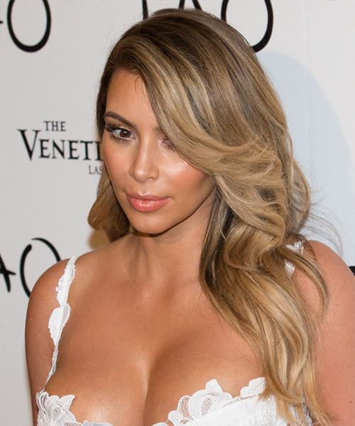 Kim Kardashian Long Straight Formal Hairstyle - Medium Brunette (Chestnut) Hair Color - side view
