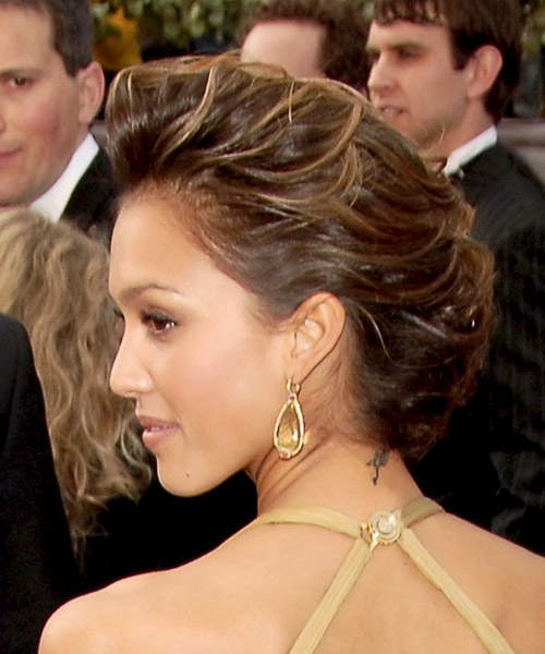 Jessica Alba Formal Curly Updo Hairstyle - Medium Brunette (Mocha) - side view