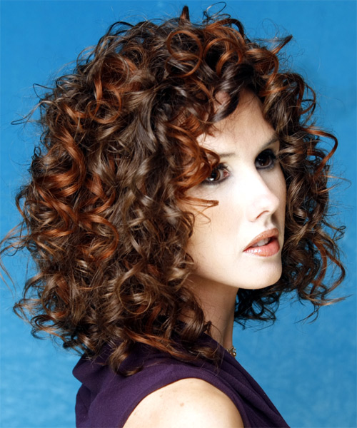 Medium Curly Formal Hairstyle - Dark Brunette - side view 2