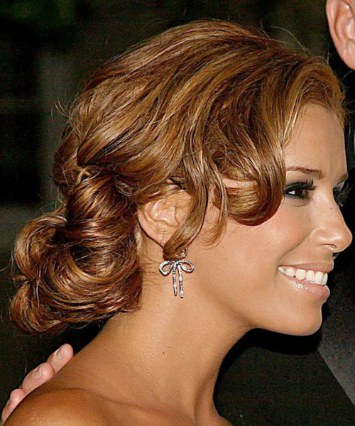 Eva Longoria Parker Formal Curly Updo Hairstyle - Light Brunette (Auburn) - side view 2