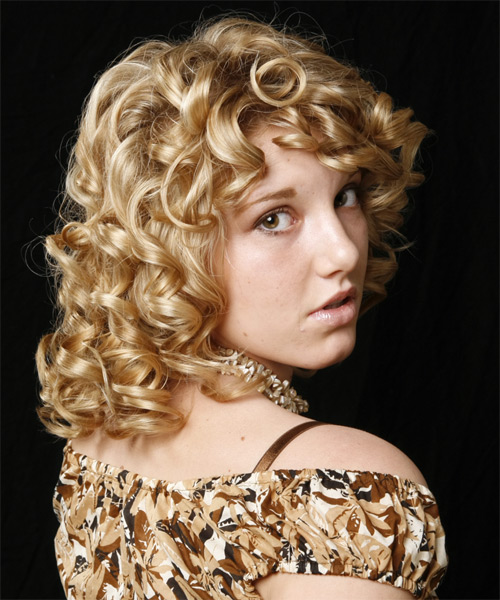 Medium Curly Formal Hairstyle - Medium Blonde Hair Color - side on view