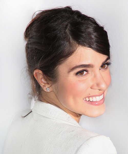 Nikki Reed Casual Straight Updo Hairstyle - Dark Brunette - side view