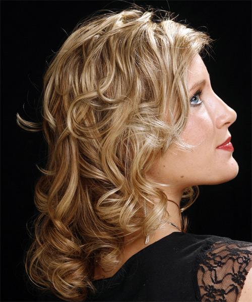 Long Curly Formal Hairstyle - Dark Blonde - side view 2
