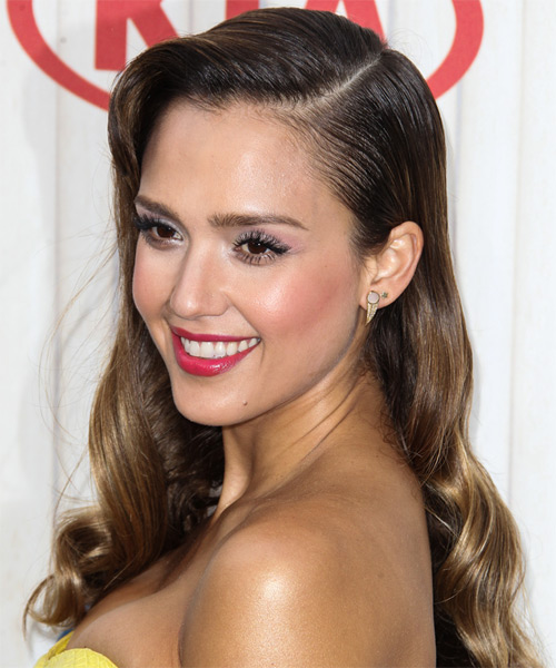 Jessica Alba Long Wavy Hairstyle - Dark Brunette (Chestnut) - side view